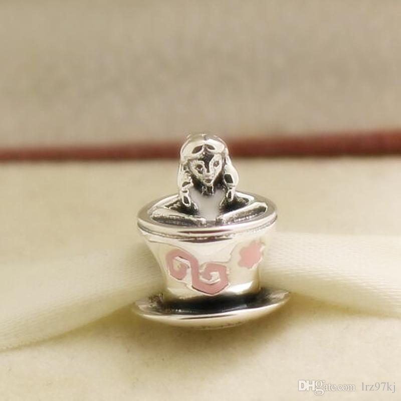 Nowy 925 Sterling Silver Parki Ekskluzywne Alice Charm Koralik z Emalą Pasuje do European Pandora Styl Bransoletki Biżuteria Naszyjnik Wisiorki