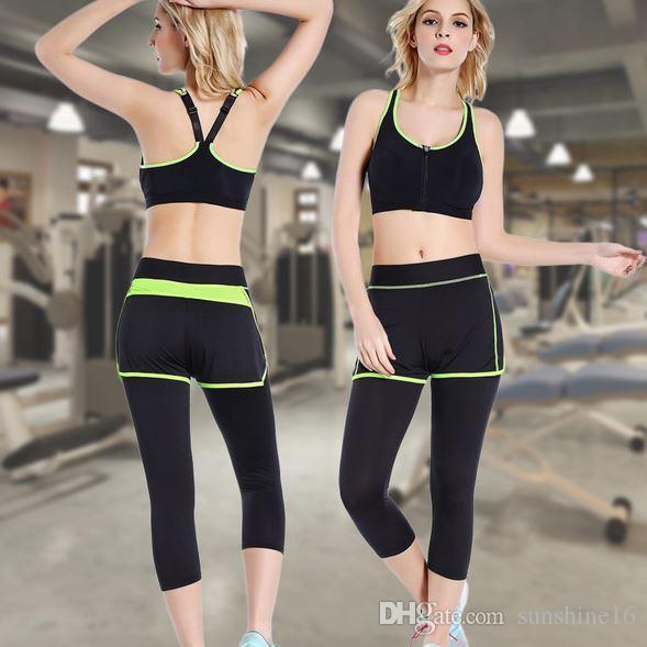 2016 frauen yoga hosen elastische taille dünne dünne capris leggings fitness tragen training laufen jogging gym sport kleidung athletic bekleidung