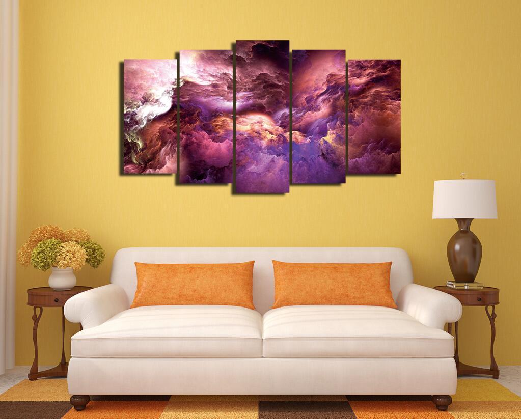 Frete Grátis, 5 Pedaços Sem Quadro Cores, Irreal, Nuvens Poster Living Room  Decor Part 78