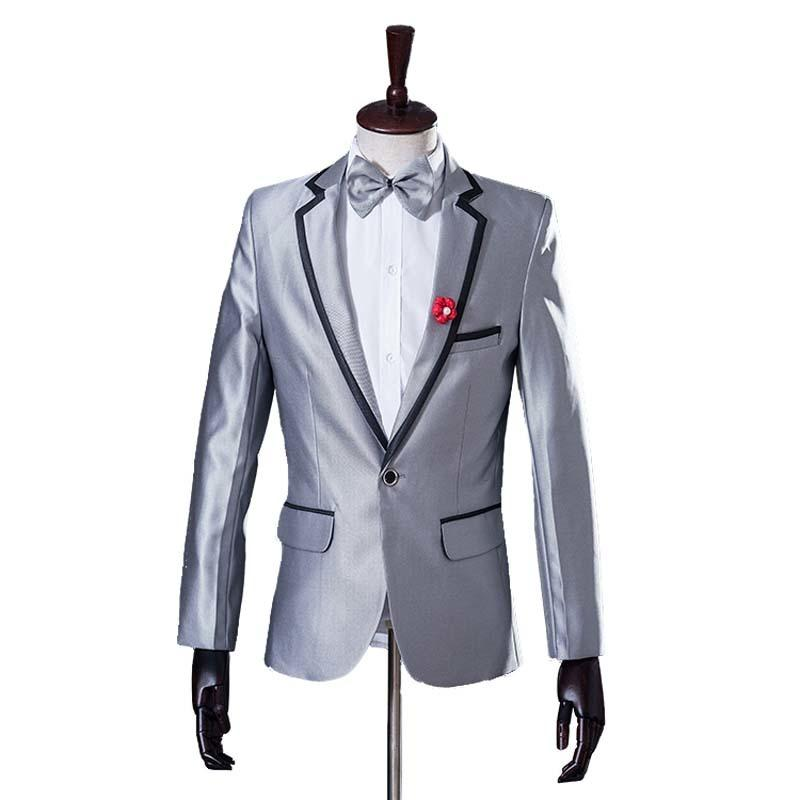 Wholesale- ( Jacket + Pants ) Studio Tuxedo Groom Dress Mens Silver Wedding Suit Latest Coat Pant Designs Slim Male Suits