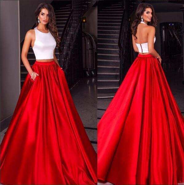Hot Sales 2018 White And Red Two Pieces Prom Dresses Cheap Halter Neck A Line with Pockets Long Party Formal Gowns Custom Made