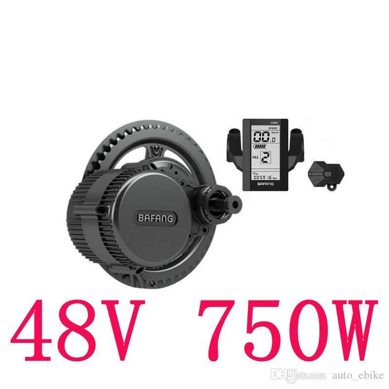 48V 750W 8fun / Bafang Mid Drive Moteur Central C965 LCD BBS02 Dernier Contrôleur Moteur Crank Eletric Bicycles Trike Conversion DIY Kits Ebike