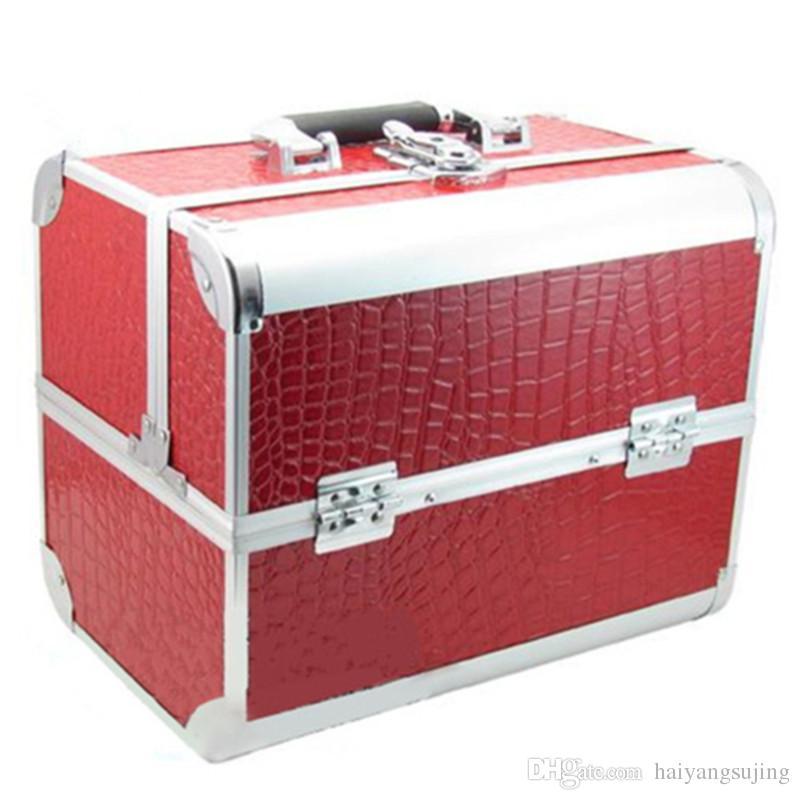 뜨거운 판매 무료 배송 높은 학년 알루미늄 메이크업 케이스 악어 그레인 PU 가죽 도구 상자 상자 화장품 케이스 저장 가방