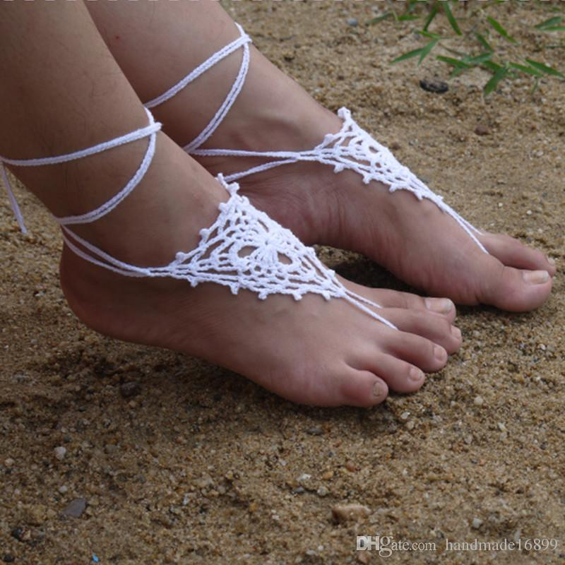Handmade Crochet Barefoot Sandals Beach Wedding Yoga Shoes Foot Jewelry White, Lace Shoes, Yoga Shoes, Beach Pool