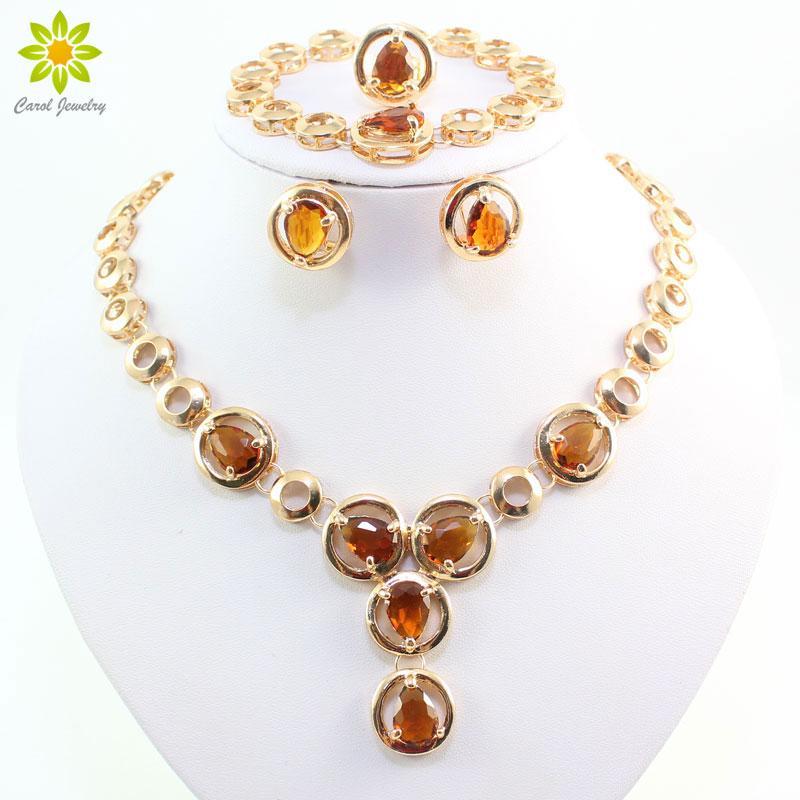 Fine Jewelry Sets African Beads Collar Dichiarazione Collana Orecchini Bracciale Anello per le donne CZ Diamond Wedding Party Accessories