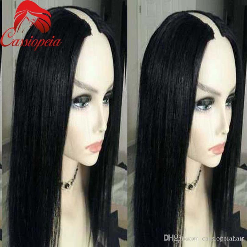 1x3 U Opening Size U Part Human Hair Wig Silky Straight Glueless 100% Unprocessed Brazilian Virgin Hair U Part Wigs For Black Women