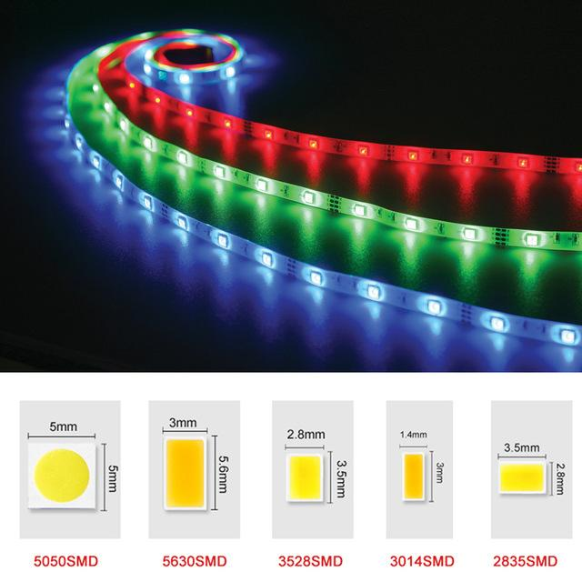 LED Strip Lights 5050 3528 5630 3014 2835 SMD Chaud Blanc Rouge Vert Bleu RVB Flexible Rouleau 5M 300 Leds Ruban Imperméable / Non-étanche
