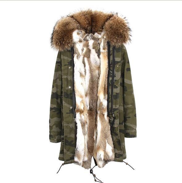 Jazzevar Марка серый белый мех кролика подкладке камуфляж оболочки длинные куртки коричневый мех отделка длинная зима куртка