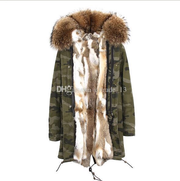 Jazzevar marca gris piel de conejo blanco forrada Camuflaje concha larga chaquetas corte de piel marrón largo parka de invierno