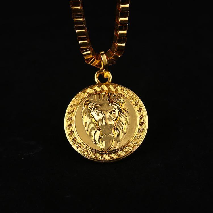 Goldkette herren mit anhänger  Großhandel Hot 18k Gold Überzog Lion Medallion Kopf Anhänger Für ...