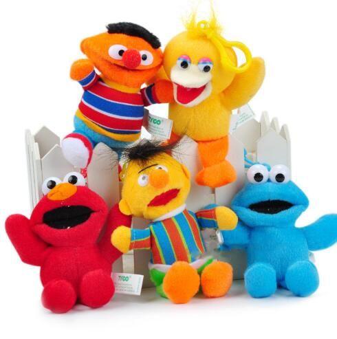 Sesame Street Elmo Plüschpuppen Spielzeug Schlüsselanhänger Anime Cute Soft Plush Stofftier Puppe Schlüsselanhänger Anhänger 14cm KKA3102