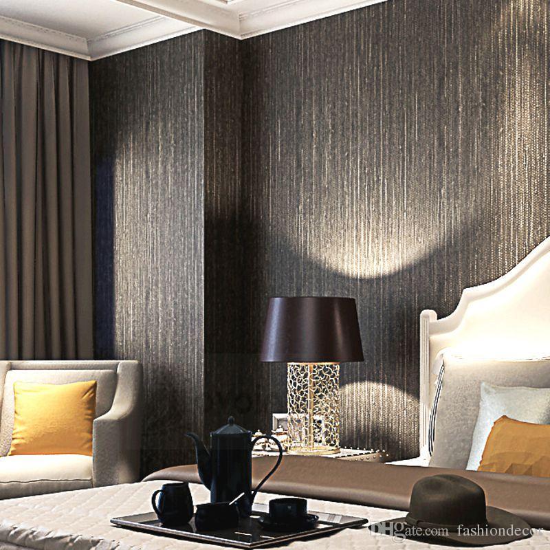 Metallische vertikale Imitat-Grasbezüge prägen Beschaffenheits-Tapete-modernes einfaches Normallack-Vinylstroh-Tapeten für Hotel Brown Black
