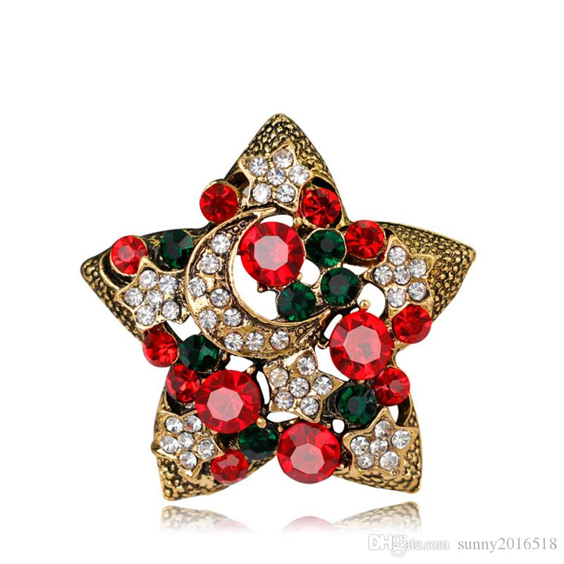 New Christmas Jewelry Multicolor Crystal Pentagram Brooches Antique Gold Alloy Rhinestone Star Brooch Costume Pins XMAS Gifts for Kids