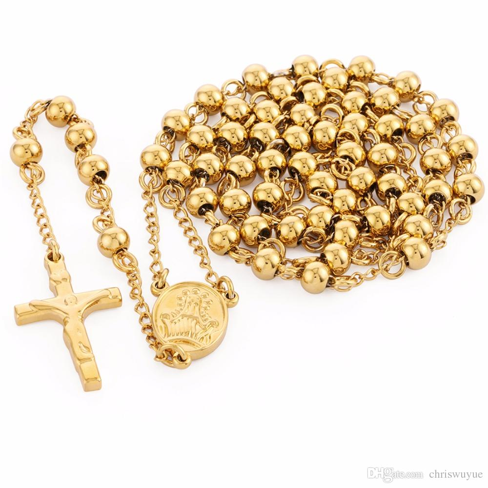 Высокое качество нержавеющей стали бисер ожерелье цвета золота Розарий ожерелья Подвески Иисуса Христа Крест Long Y Сеть Мужчины Женщины подарка ювелирных изделий