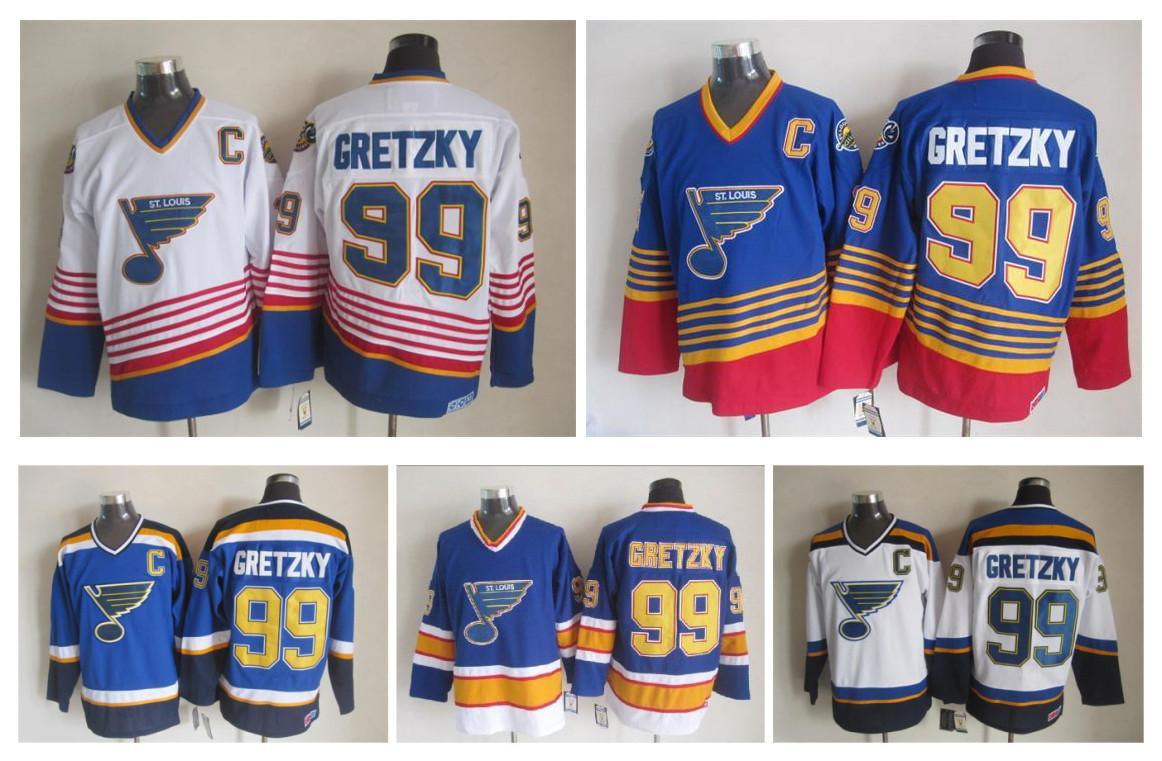 Qualidade máxima ! 2016 St. Louis Blues Gelo Hóquei Camisetas Barato # 99 Wayne Gretzky Retro Vintage CCM Authentic Stitched Jerseys Mix Ordem!