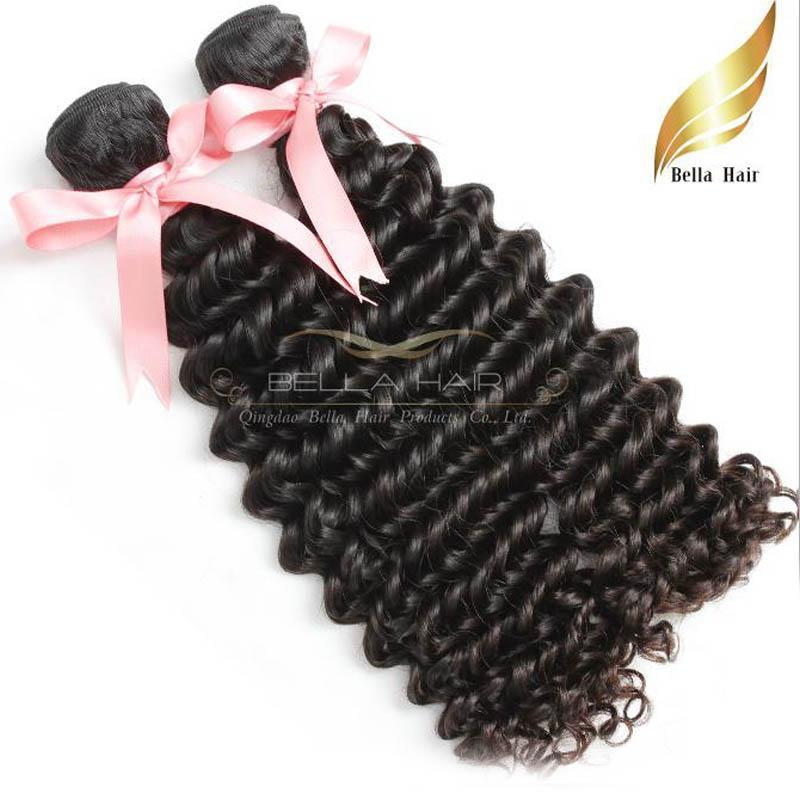 """Peruvian Deep Wave Weaves Human Hair Extensions 4PCS / Parti 8 """"-30"""" Naturlig färgfri frakt 8A Haft Weft Weaves i Bulk Bellahair"""