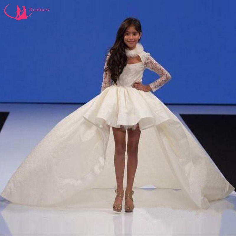 Hi-Lo Meninas Vestidos Pageant Para Adolescentes Marfim Cetim Rendas Mangas Compridas Vestido de Comunhão Vestidos de Festa de Aniversário Da Menina de Flor
