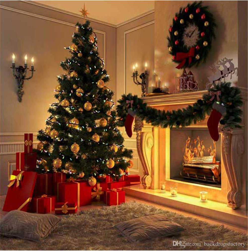Fireplace Christmas.2019 Indoor Fireplace Christmas Tree Photography Backdrops Printed Garland Carpet Present Boxes Kids Children Home Party Photo Booth Background From