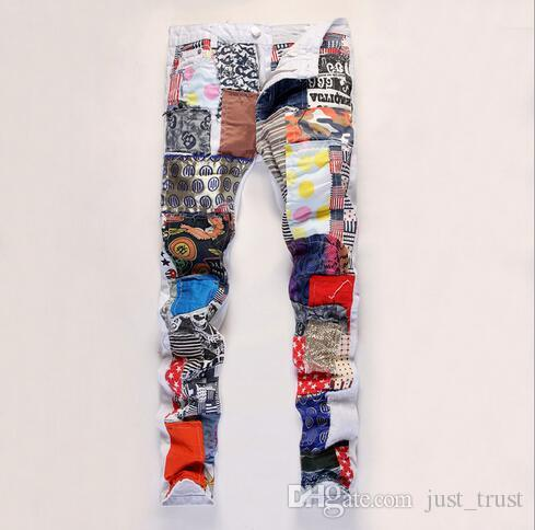 Fashion Designer Hiphop streetboy Punk Straight Cotton Denim Jeans patchwork slim Patched jeans Mens Hiphop pants Large Size Trousers