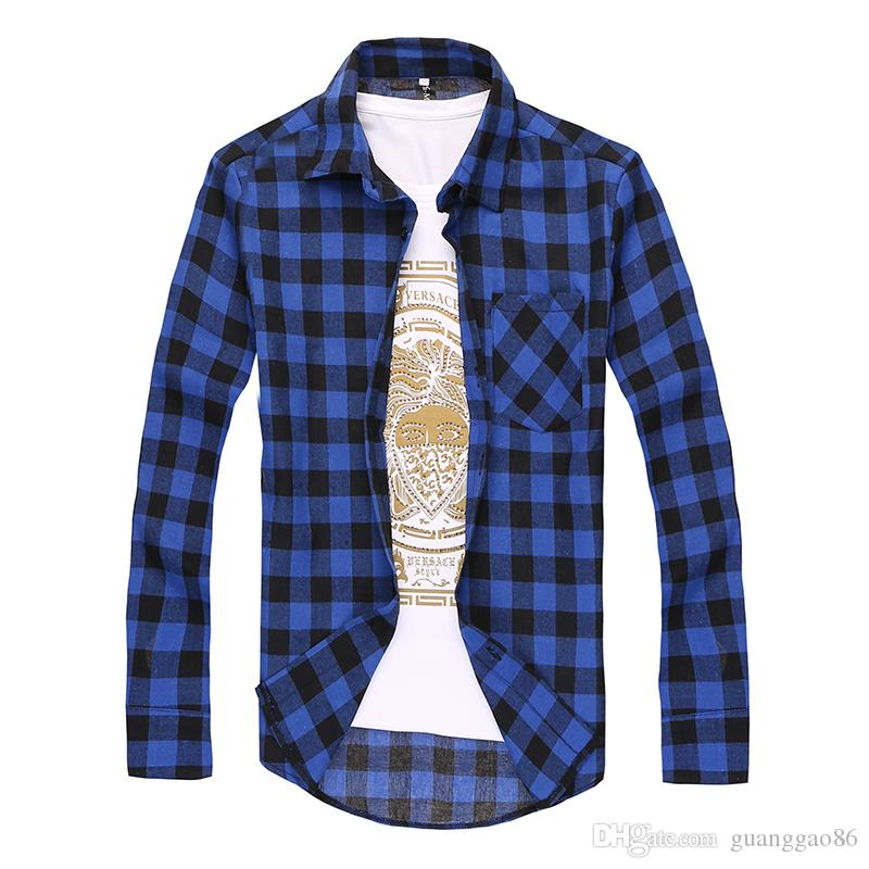 2016 Frühling und Sommer Jugend Arbeit Kleidung lose große Yards Baumwolle Plaid Shirt Männer kultivieren wilde langärmeligen Hemd Casual Shirts