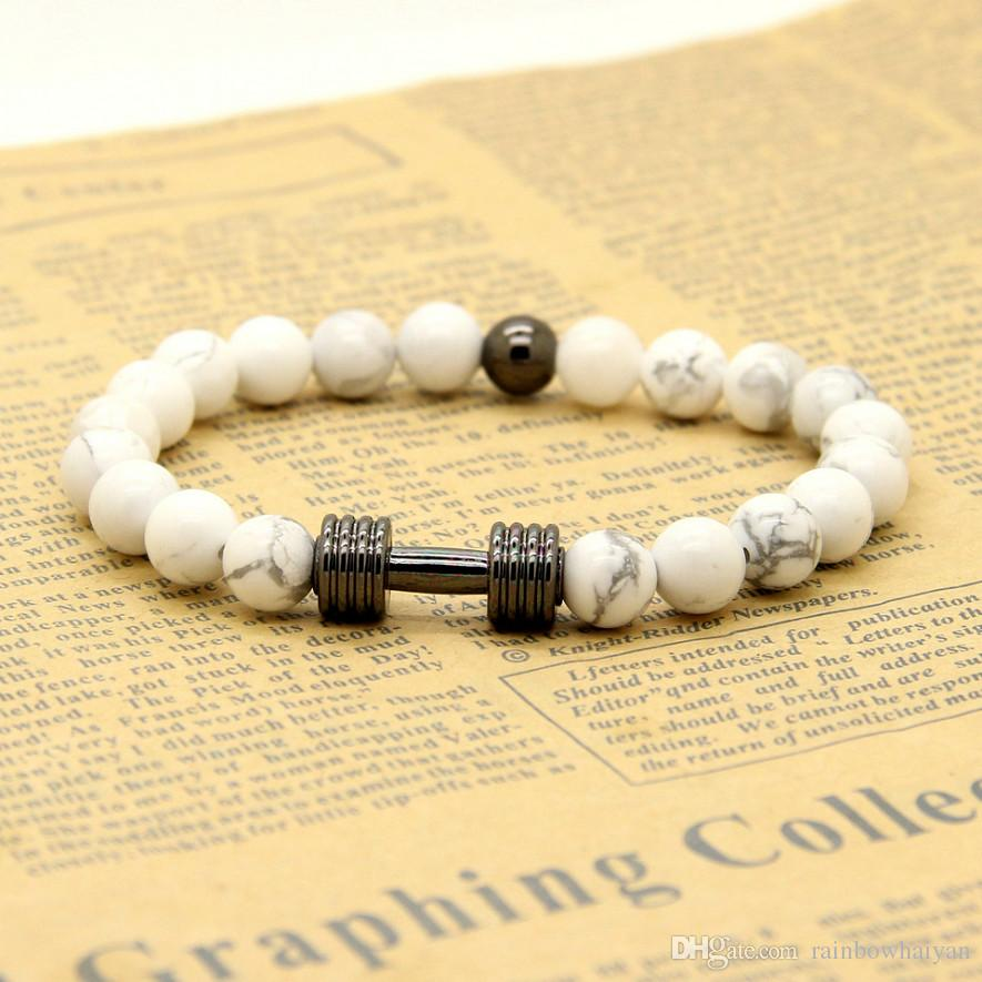 Wholesale Real Gold&Platinum Plated Metal New Barbell & 8mm White Howlite Marble Stone Fitness Fashion Dumbbell Bracelets