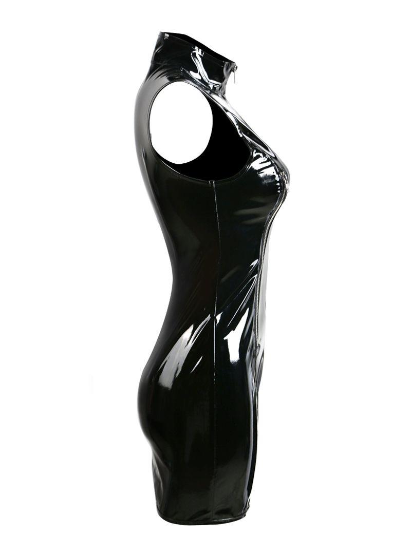 All'ingrosso-Plus Size S-XXL Gothic Punk Collo alto senza maniche Donna Nero PVC Mini Dress Lucido Zip Up Wet Look Vestido Night Club Dress