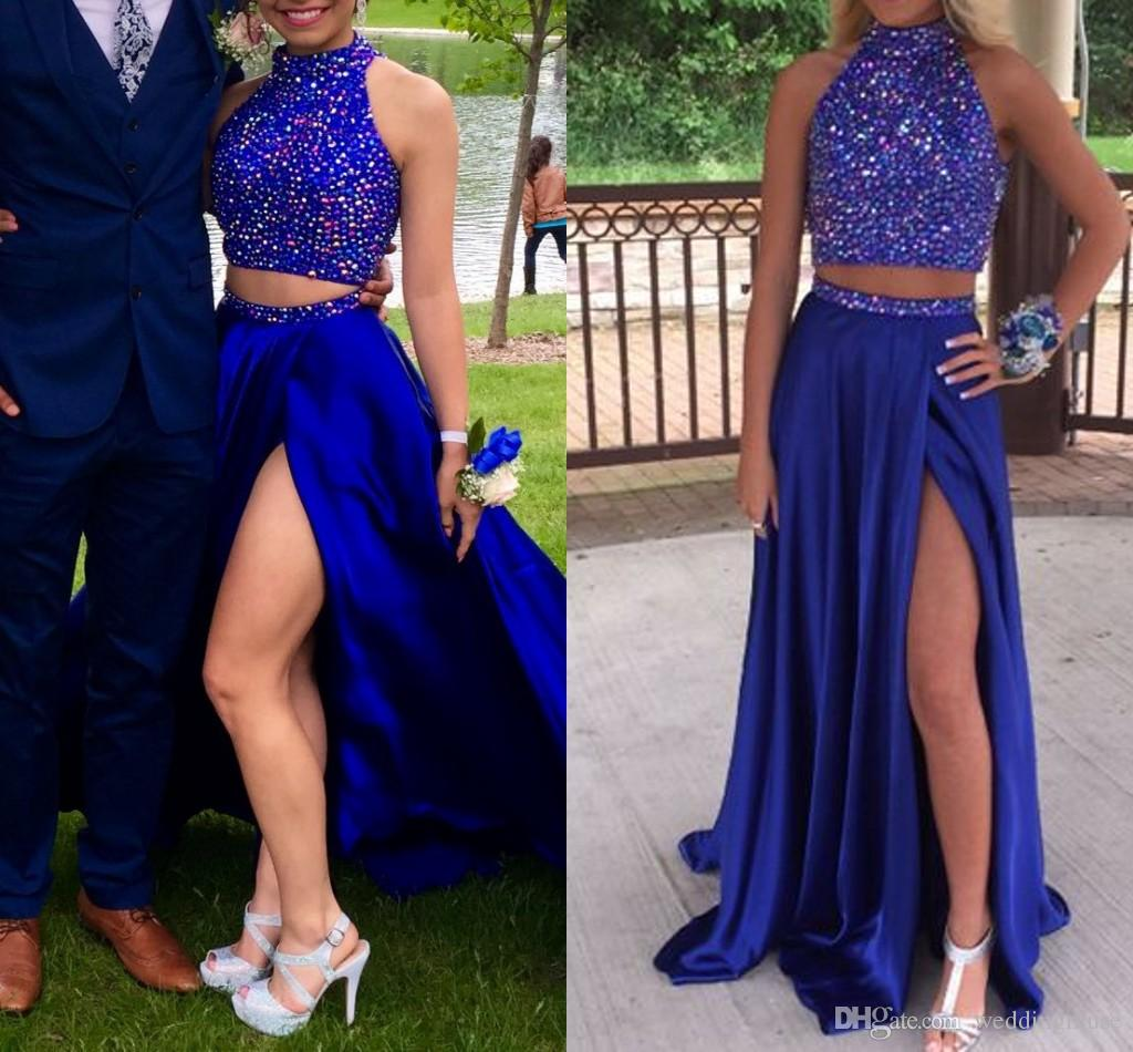 New Cobalt Bleu Deux Pièces perlage longues robes de bal Sparkling fendus Sexy Party formelle robe de soirée Robes de cocktail