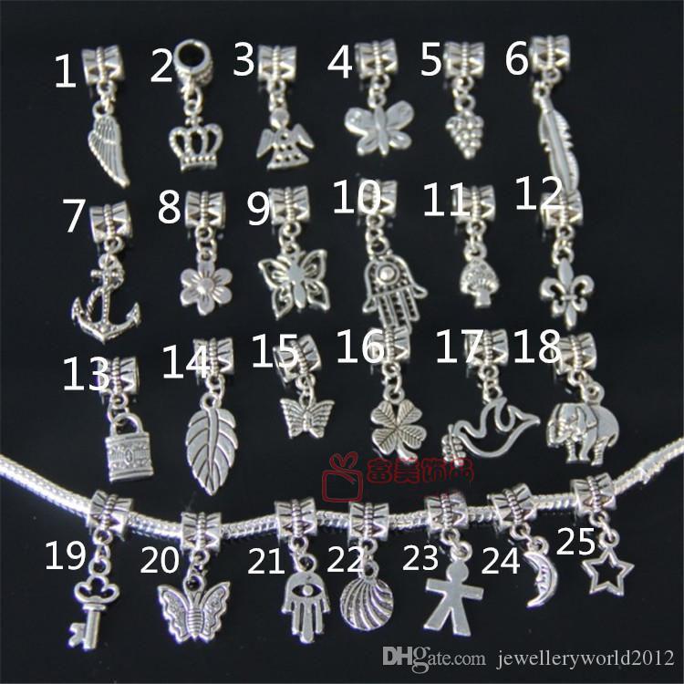 100 pcs misturado diy encantos beads tibetano prata banhado a liga encantos