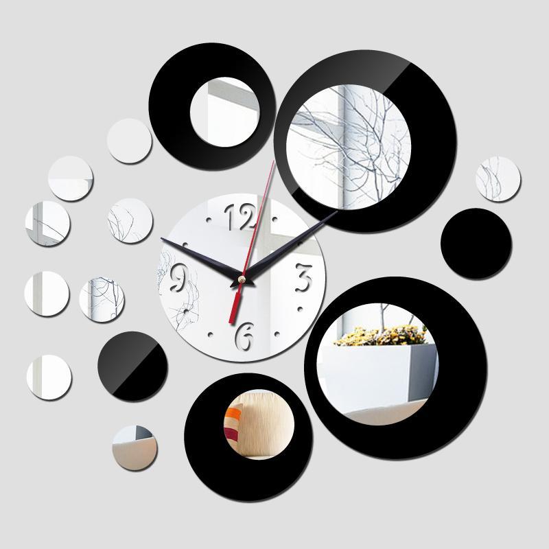 2016 neue wanduhr modernes design 3d uhren quarzuhr kunststoff Wohnzimmer spiegel Wandaufkleber relogio de parede wohnkultur TY1997