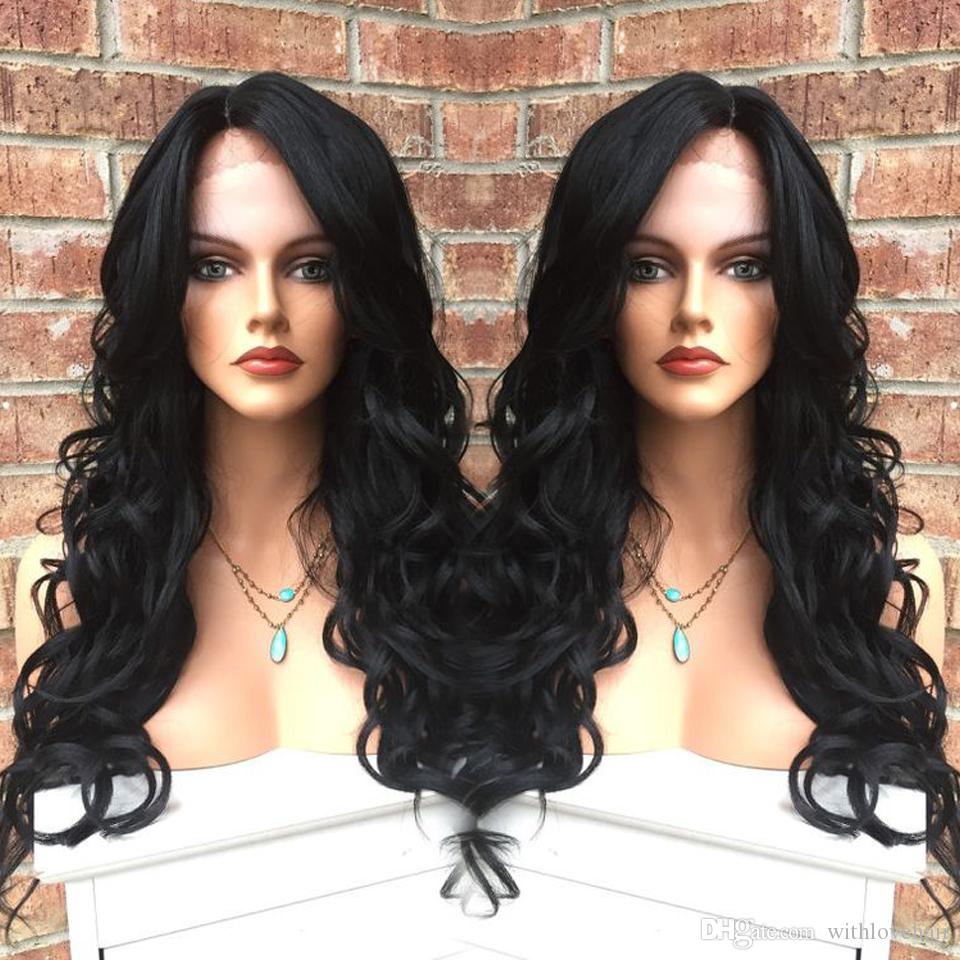 wholesale full lace wig 100% indian human hair top quality #1 jet black body wave Wigs