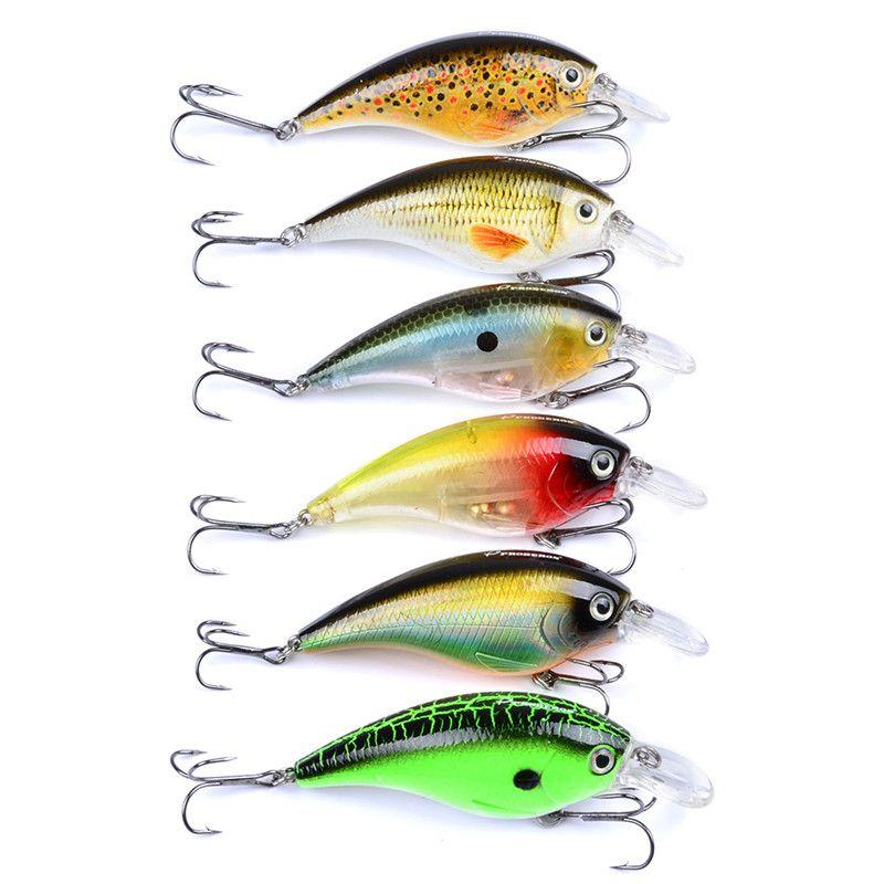 밝은 색상의 실물 같은 물고기 미노우 크랭크 낚시 미끼 고리 7cm 16.7g ABS 플라스틱 Isca 소매 상자가있는 인공 baits