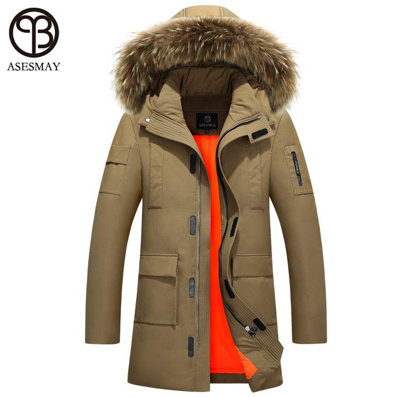 Asesmay men's Brand duck down jacket hood men thick warm jackets puffer down jacket red coat winter parkas wellensteyn jacket