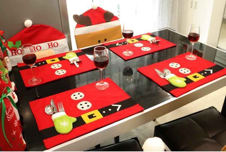 2016 Christmas decorations. Table mat. Table linen. Home Restaurant Hotel Christmas supplies. Christmas knife and fork bag.