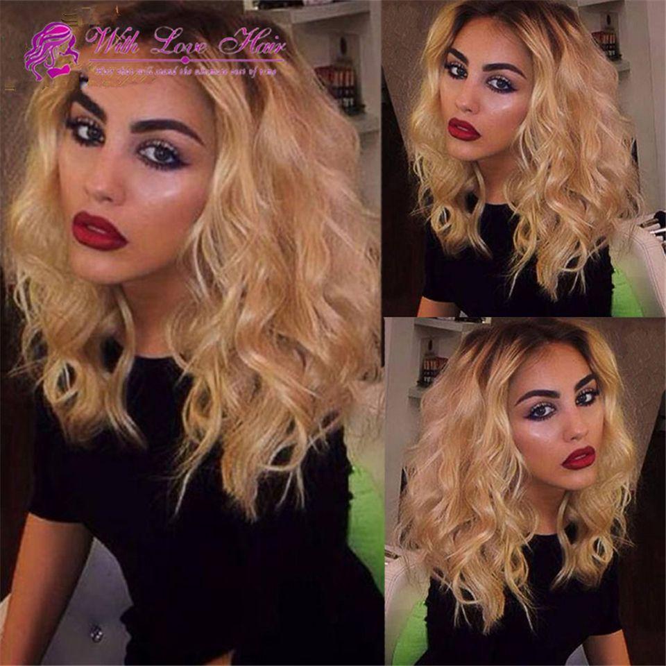 bob lace wig mongolian short human hair ombre blonde full lace wigs lace front wig bob virgin wig for black women 1b 613