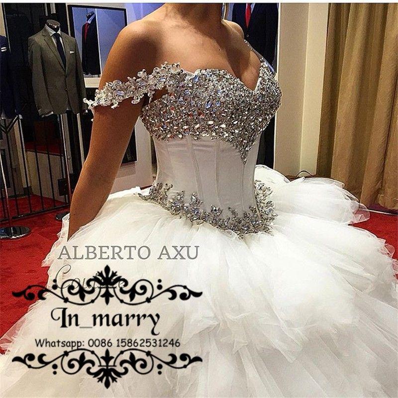 Luxury White Crystals Cascading Ruffles Wedding Dresses 2017 Ball ...