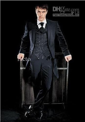 Top di alta qualità Hi-Lo nero One Button risvolto smoking nuovo sposo / abito da uomo vestito da sposa sposo (giacca + pantaloni + cravatta + gilet)