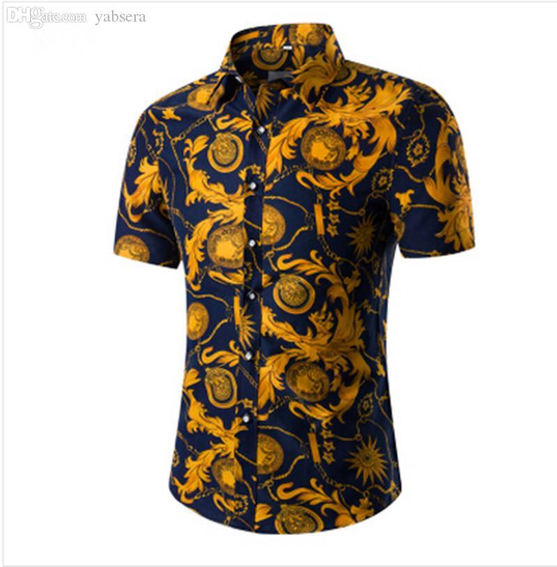 Wholesale-2016 أزياء رجالي قصيرة الأكمام هاواي قميص الصيف عارضة الأزهار القمصان للرجال حجم الآسيوية M-4XL 10 اللون