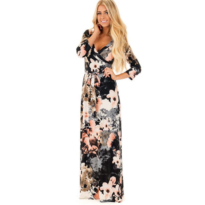 New Fashion Women Long Sleeve Dress Vintage Flower Print Party Club Bohemia V-neck Sexy Maxi Dress Black Casual Dresses