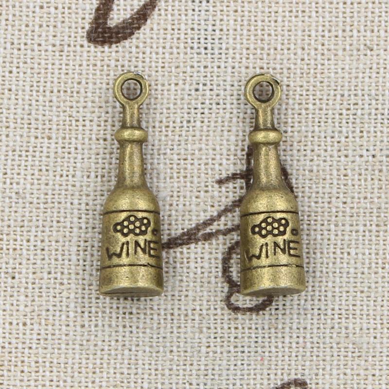 30pcs encanta la botella de vino 27 * 8 * 8 mm Antique Making colgante en forma, bronce tibetano de la vendimia, collar de la pulsera DIY