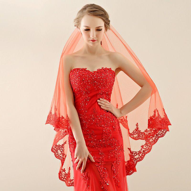 حار بيع الحجاب الأحمر للعروس 3 الحجم للاختيار مع الدانتيل الأزياء تصميم الأزياء الساخن بيع أسعار الجملة الزفاف