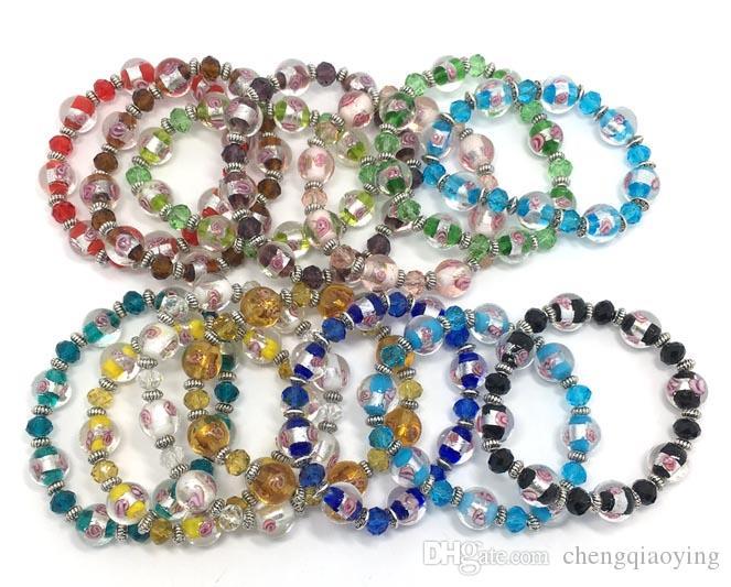 Marka yeni moda takı bilezikler lot başına 28 adet mix renkler cam ve kristal boncuk ayarlanabilir bilezikler drop shipping