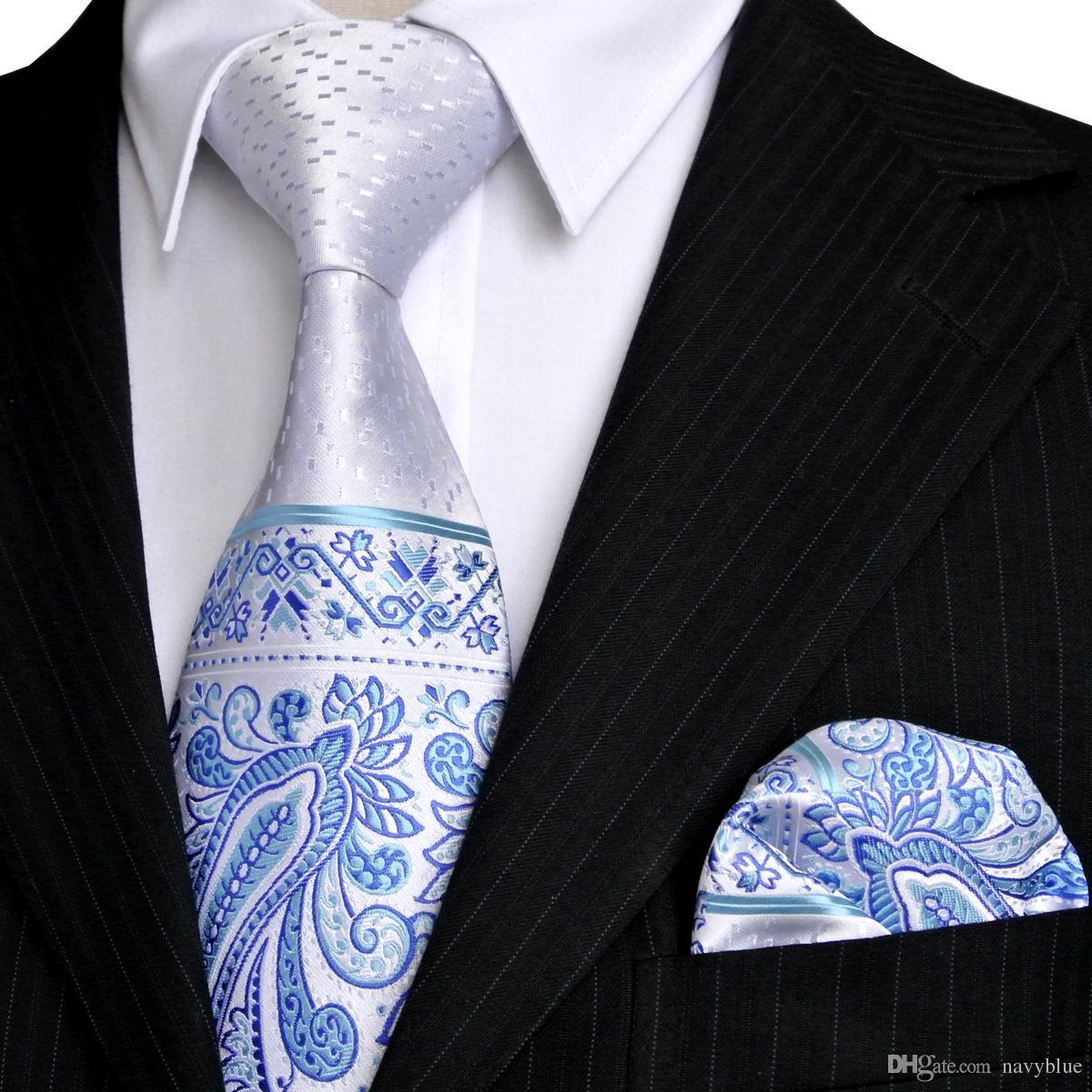 E5 بيزلي النقاط الأزهار الفضة البيضاء الأزرق الداكن أزور رجل التعادل مجموعة رابطات عنق الجيب ساحة 100 ٪ الحرير شحن مجاني