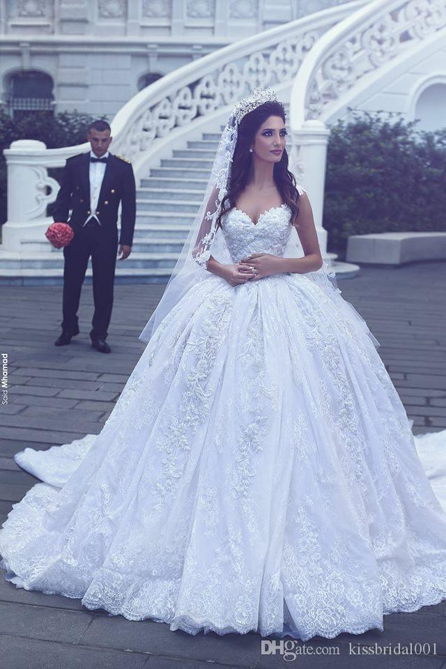 Vintage Embroidery Lace Wedding Dresses Dubai Princess Bridal Gowns Crystal Beading Sweetheart Neck Long Wedding Gowns Court Train