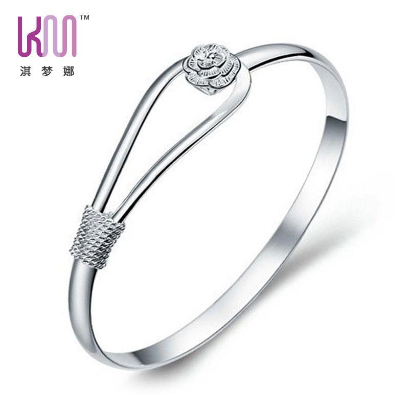 Las mujeres platearon la pulsera de plata de la joyería de la manera de la cadena del brazalete del pun ¢ o de la pulsera