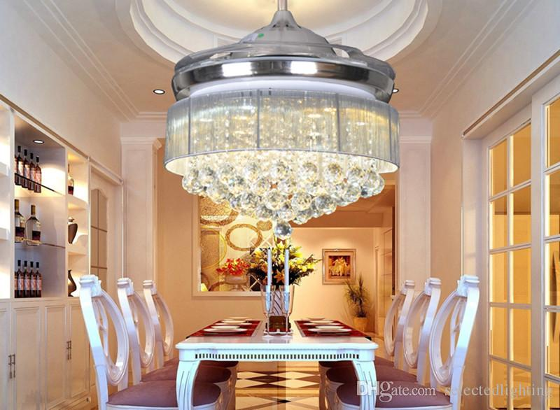 2021 Crystal Chandelier Ceiling Fan Light With Fabric Drum Lamp Shade 36w Dimmable Light 42 Inch Ceiling Fans Remote Control 110v 220v From Selectedlighting 326 54 Dhgate Com