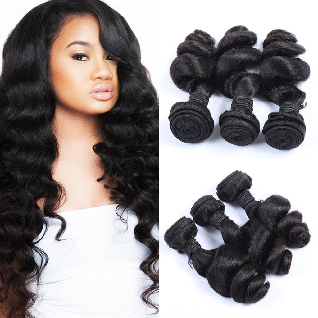 Unprocessed Human Hair Extensions Peruvian Loose Wave Natural Black Can Be Dyed Human Hair Weave 100g/pc 3pcs lot G-EASY