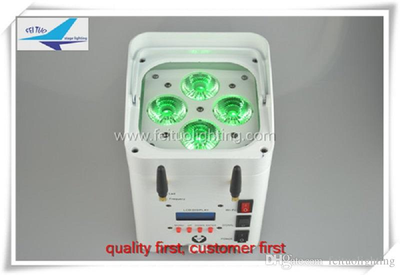 Vente en gros batterie d'éclairage de scène 10pcs / lot led contrôle par wifi 4x12w rgbwa uv 6in1 uplighting