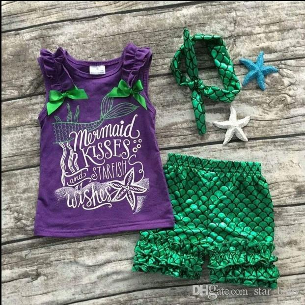 2016 Girls Infant Mermaid Kisses Starfish Wishes 3 Piece Boutique Set Starfish Wishes Outfits with Matching Headband K7592