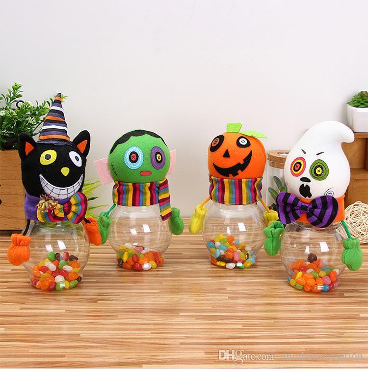 Halloween enfants bande dessinée bonbonnières Innovante Transparent Chat citrouille Bonbonnières Cadeau DIY Bouteille de table décoration jouets en peluche