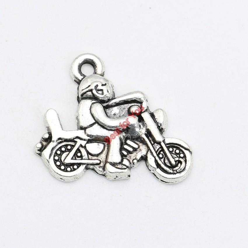 20pcs argento antico placcato motorbicycle pendenti di fascini collana di gioielli che fanno accessori fai da te 19x22mm
